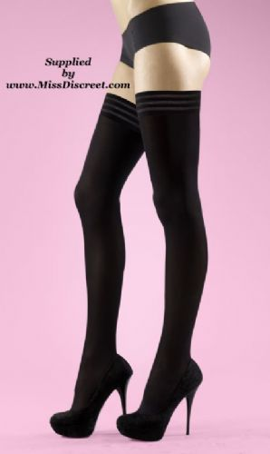 Sexy Black Opaque Hold Up Stockings with Tri Band Tops - One Size - 70 Denier